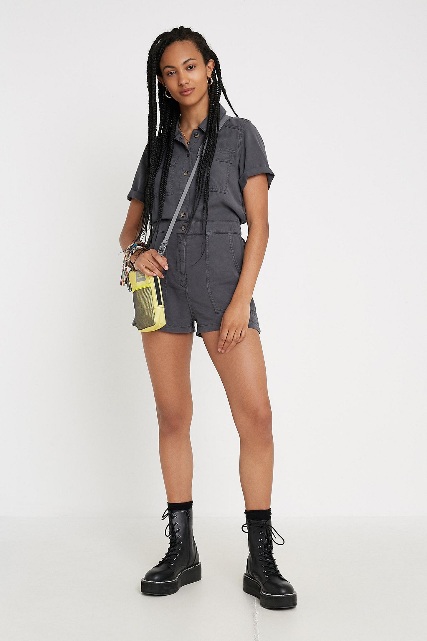 decf69dbee3 UO Victoria Utility Romper | Urban Outfitters