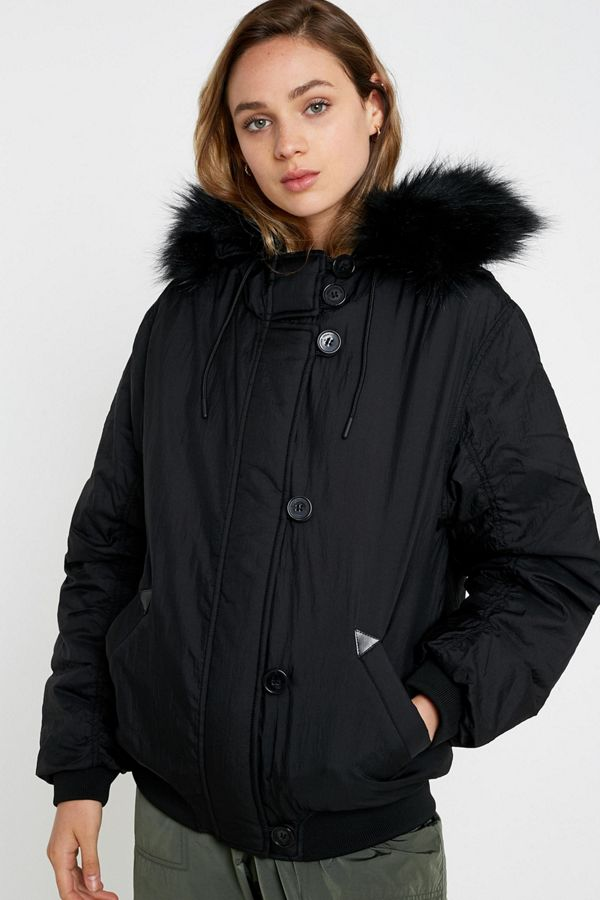 Uo Angelica Faux Fur Hooded Bomber Jacket by Urban Outfitters