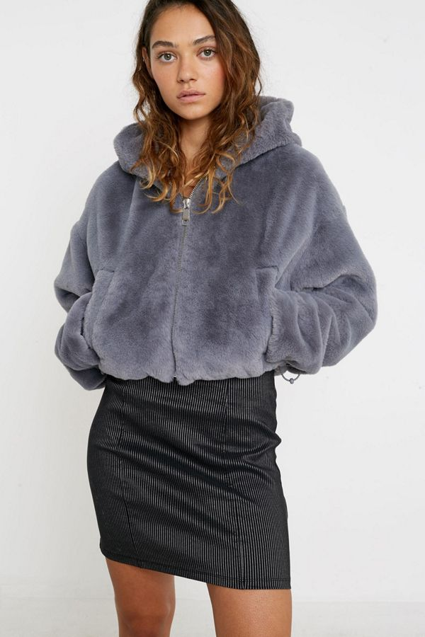 UO Hooded Faux Fur Cropped Jacket