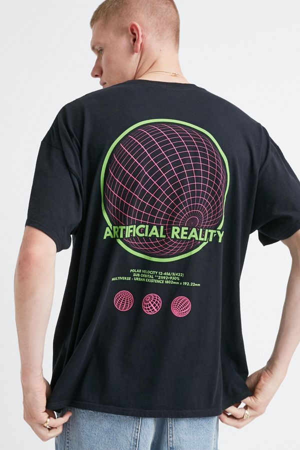 Uo Neon Artificial Reality Black Tee by Urban Outfitters