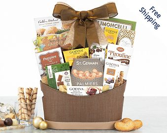 Godiva and Sweets Chocolate Gift Basket Gift Basket  Free Shipping