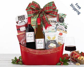 Vintners Path Holiday Tidings Wine Basket Gift Basket