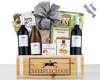 Steeplechase Vineyards California Trio Wine Basket Gift Basket Free Shipping