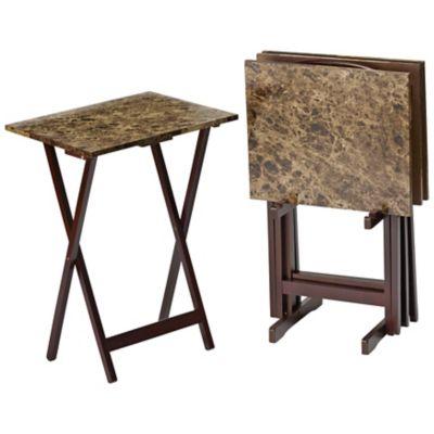 tv tray set. Alcove 5-Pc. Marble-Look TV Tray Set - Espresso Tv