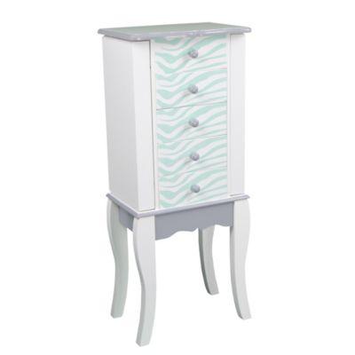 81ec546ac9f546 Teamson Kids Fashion Prints Zebra Jewelry Armoire - Aqua White