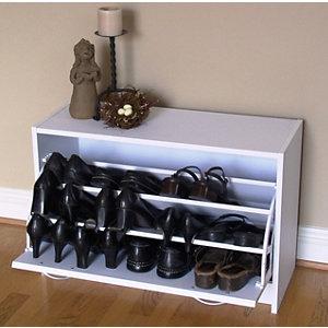 4D CONCEPTS Deluxe Shoe Cabinet   White