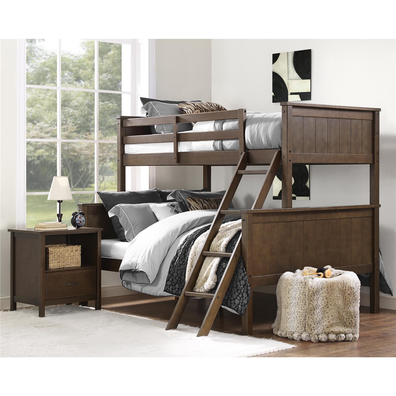 Fingerhut Dorel Asia Dorel Living Maxton Twin Over Full Bunk Bed Mocha
