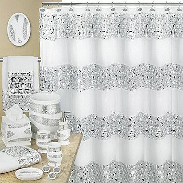 Fingerhut Sinatra Shower Curtain White, Sinatra Bathroom Accessories