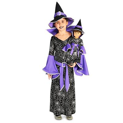 BuySeasons Kids  Spider Web Silver Printed Witch Costume with Matching 18  Doll Costume 933a745130ce