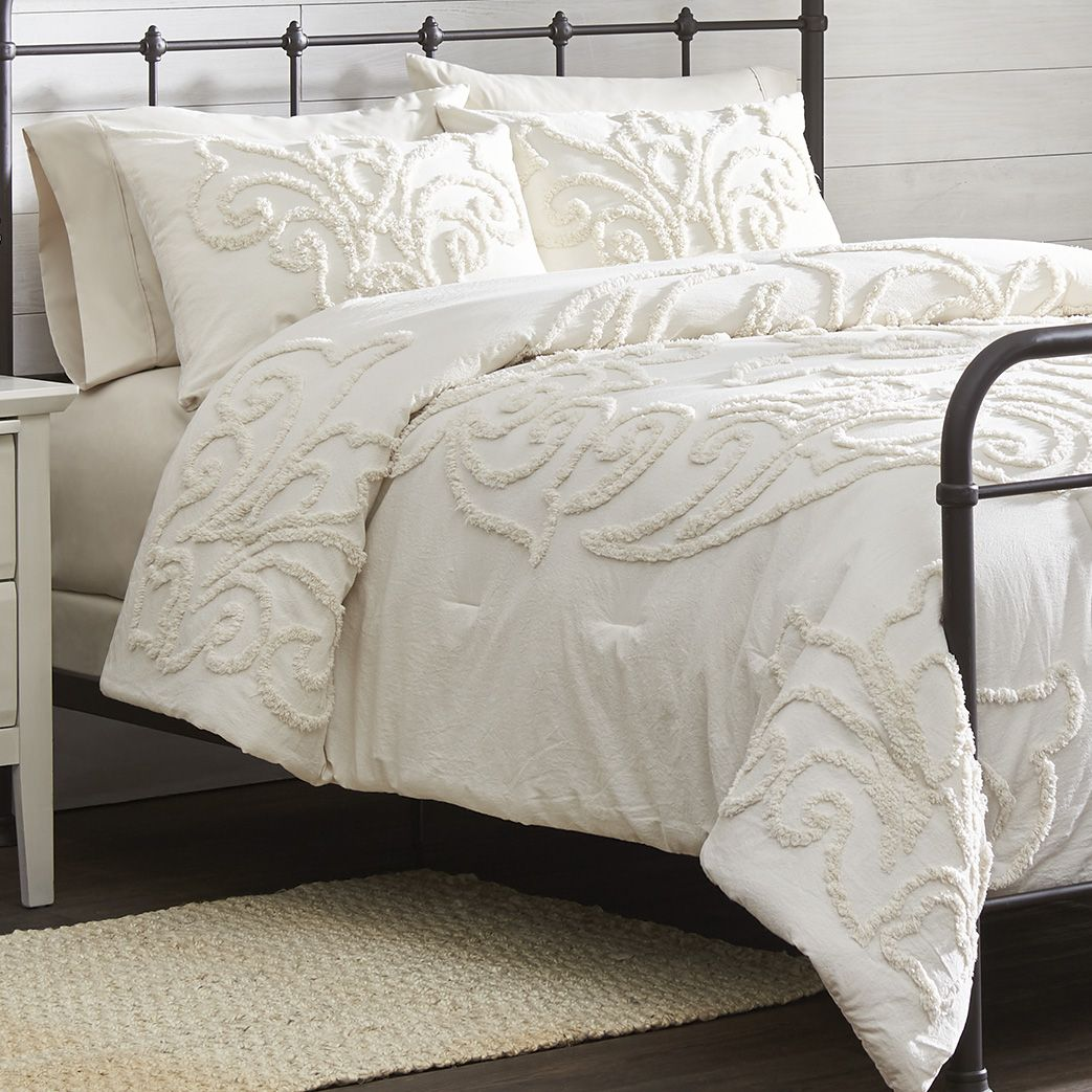 Queen IVORY CHENILLE VINTAGE PLUSH COTTON 3pc COMFORTER SET King or Cal King