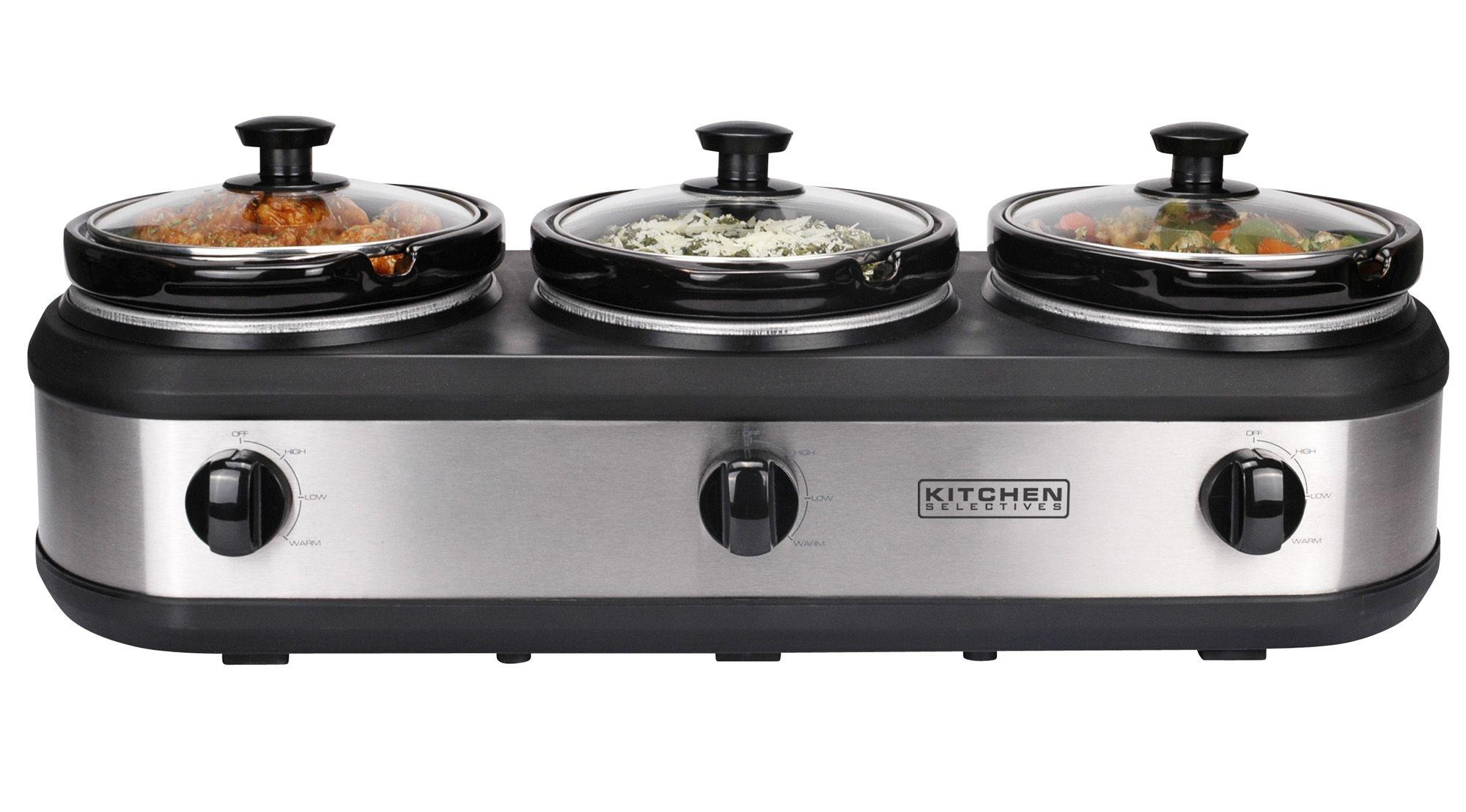 Fingerhut Three 2 5qt Crock Slow Cooker Buffet Server