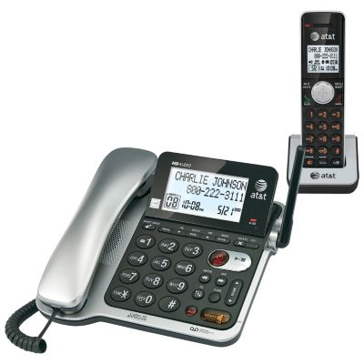 AT & T DECT 6.0 2-Handset Corded/Cordless Answering System with Caller ID Announce