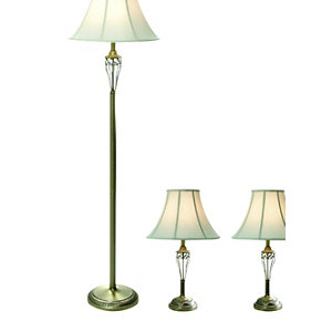 Antique Brass 3 Pc. Lamp Set