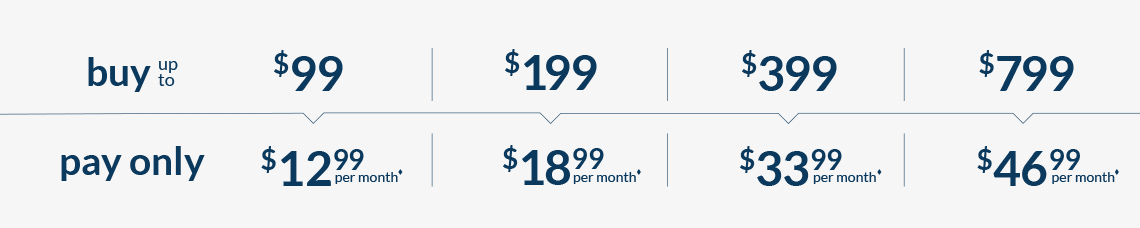 Buy up to $99 pay only $9.99 per month*, Buy up to $199 pay only $15.99 per month*, Buy up to $399 pay only $30.99 per month*, Buy up to $799 pay only $46.99 per month*