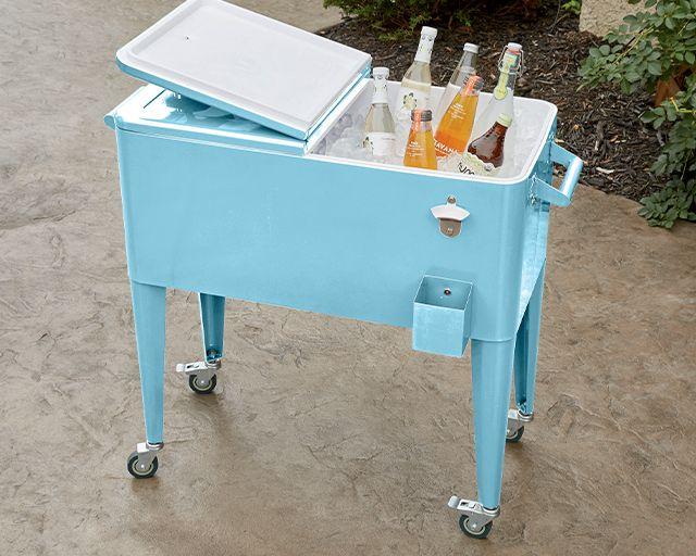 sky blue beverage cart / cooler