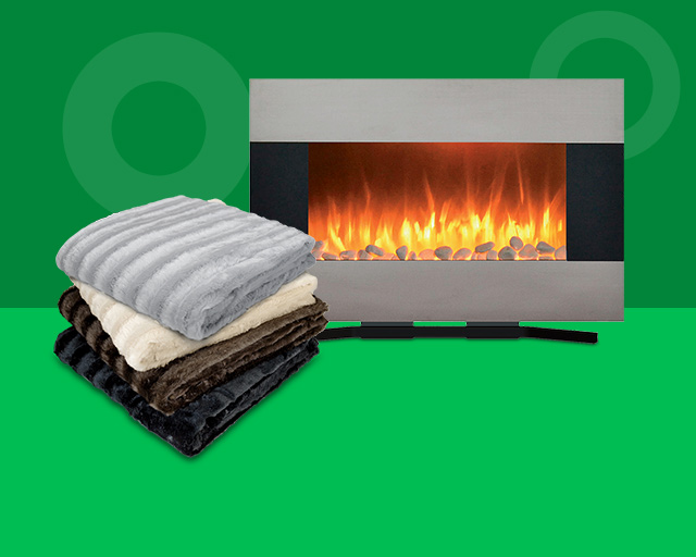 fireplace, and blanket. Cozy home items