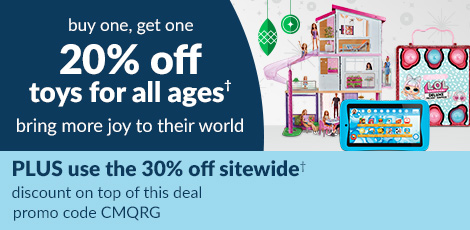 bogo 20% off toys for all ages, give them more joy