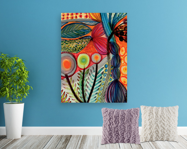 colorful painting hanging on the wall