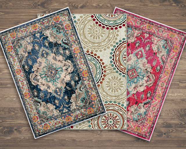 3 colorful rugs with an array of patterns