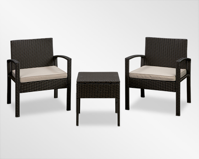 Brown all-weather wicker 2 chairs with cushions and table