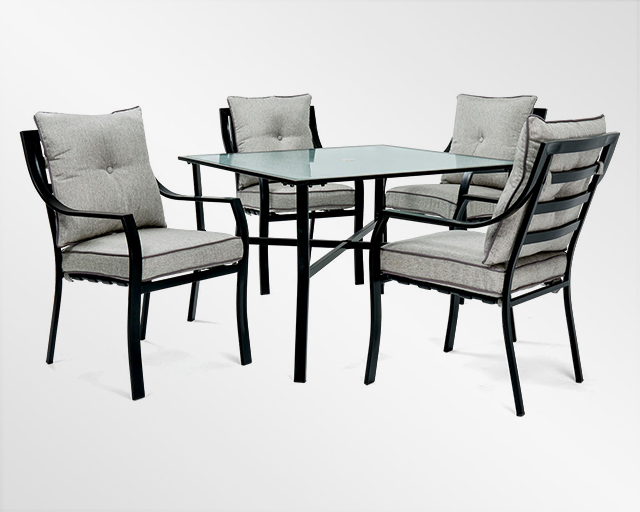 Dining set, including 4 chairs with white cushions and a metal table with glass top