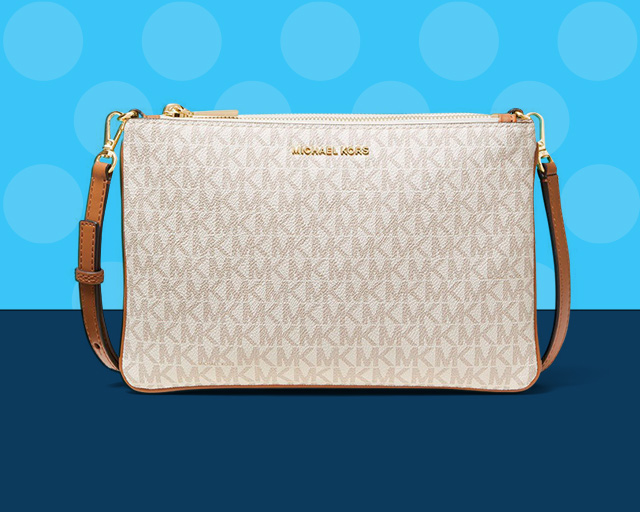 cream and tan michael kors purse