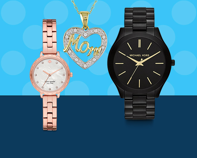 rose gold watch, gold necklace with heart that says mom, black michael kors watch with gold lettering
