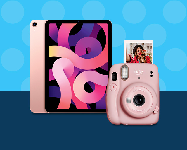 pink ipad and pink film camera
