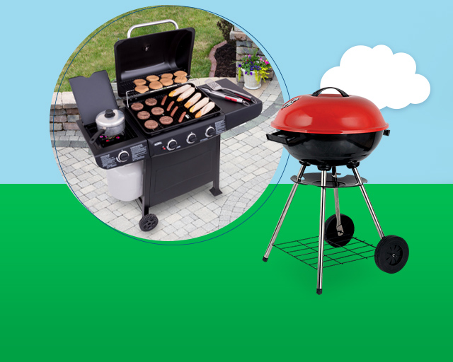 propane grill next to charcoal grill