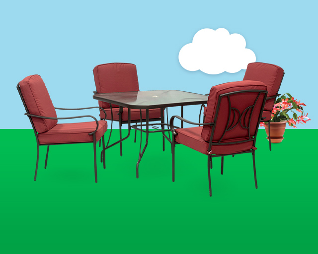 4 chair patio set with red cushions