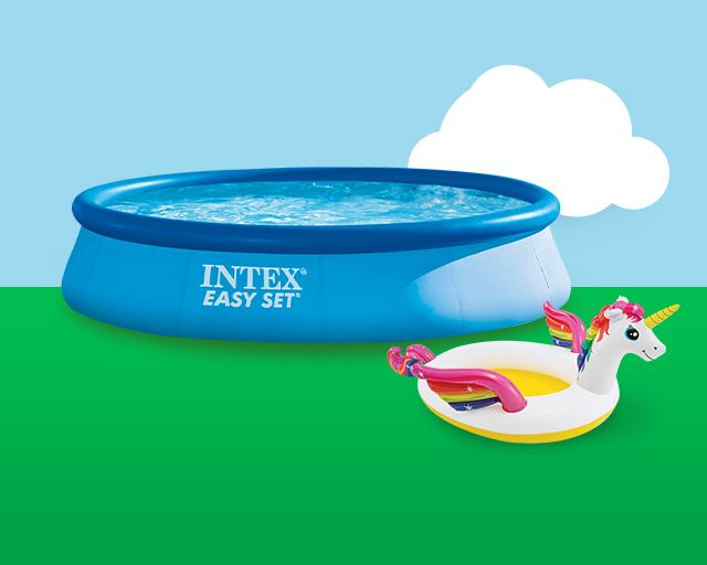 Pool and unicorn floaty