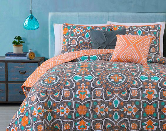 Orange and Teal Bedding