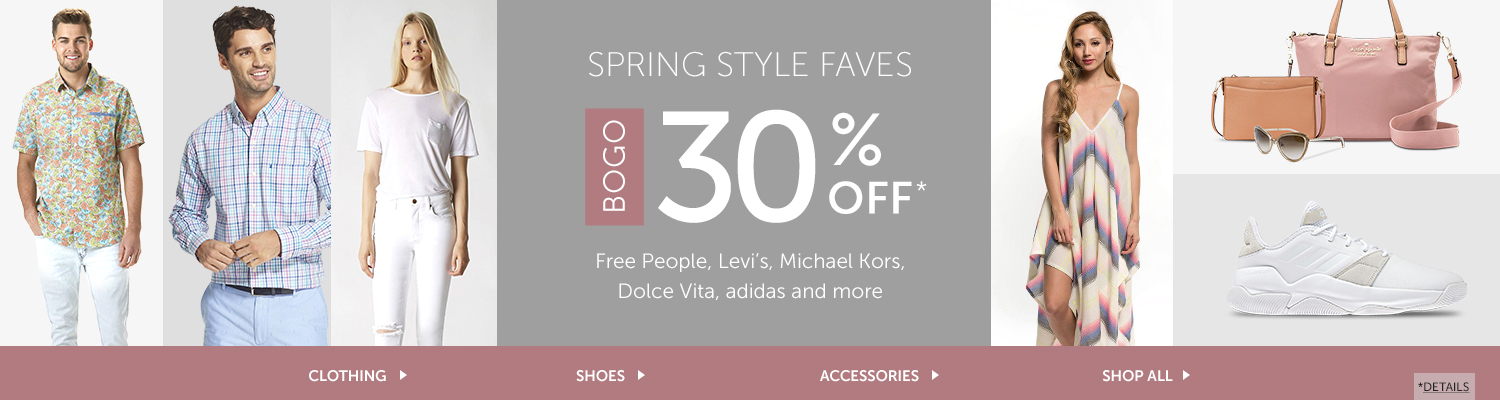 Spring Style Faves - BOGO 30% OFF Free People, Levi's, Izod, Michael Kors, Dolce Vita, adidas, and more
