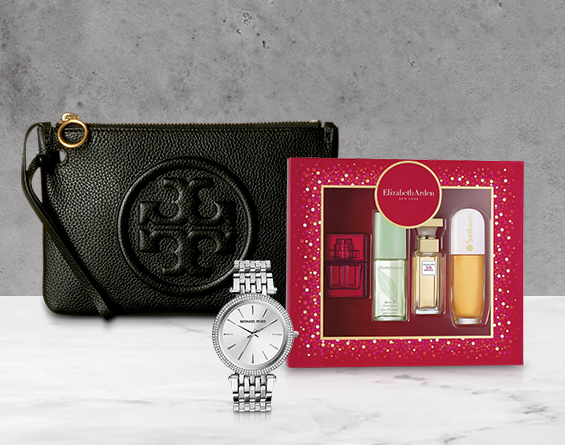 Women's handbag, fragrances and jewelry.