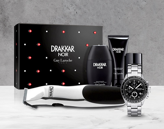 Men's fragrances, personal groomer and watch.