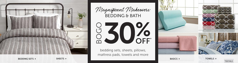 Bedding and Bath BOGO 30% OFF! Save on Sheets, Bedding Sets, Basics, Towels and more!