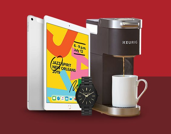 Apple iPad in white, Keurig single cup coffee maker, smart sport watch shown