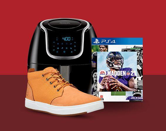 Nubuck tan men's sport shoe, black air fryer, Madden NFL PS4 video game shown.