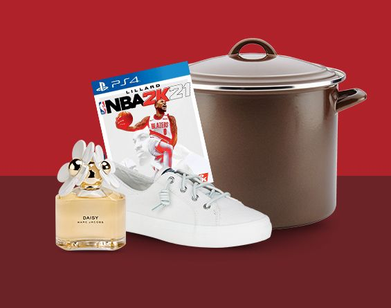 NBA 2K PS4 Video Game, Stock Pot, white sneakers and a bottle of perfume shown