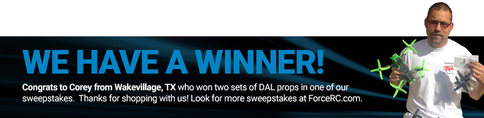 Congratulations to Corey from Wakevillage, TX, winner of two sets of DAL quad props!