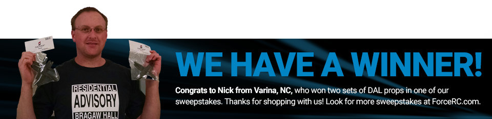Congratulations to Nick from Varina, NC, winner of two sets of DAL quad props!