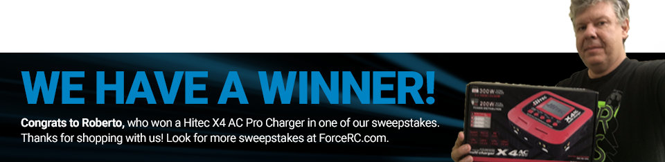 Congratulations to Roberto, winner of a Hitec X4 AC Pro Charger!