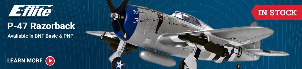 EFL8450/75 E-Flite P-47 Razorback BNF-B/PNP RC Airplane