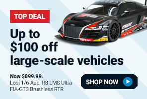 $100 off select large-scale vehicles