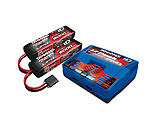 Traxxas - 3S Battery/Charger Combo: (2) 11.1V 5000mAh LiPo Battery, (1) EZ-Peak Dual ID Charger
