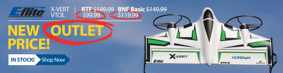 Save on the E-flite X-VERT VTOL in the Horizon Hobby Outlet