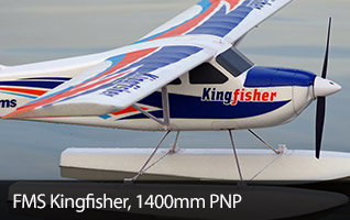 FMS Kingfisher PNP 1400mm Sport Trainer Airplane with included Tundra Tires, Floats, Skis, and Flaps