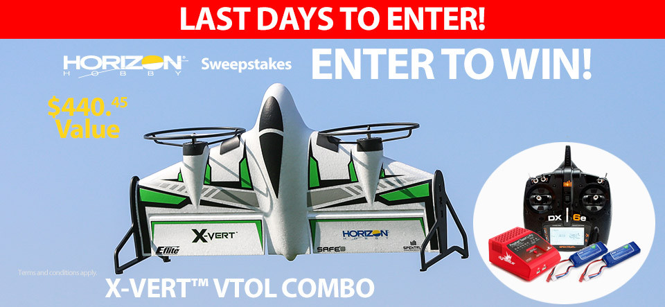 Enter to win an E-flite X-VERT VTOL Combo
