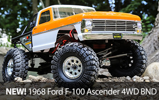 Choose your own path with the Bind-N-Drive Vaterra Ascender 4WD scale rock crawler, featuring an officially licensed 1968 Ford F-100 body.