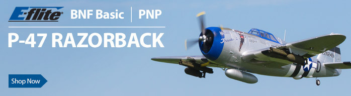 E-flite P-47 Razorback 1.2m BNF Basic and PNP WWII Warbird